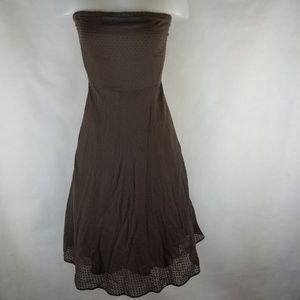 J Crew Brown Strapless Cotton Dress A Line Tea 4